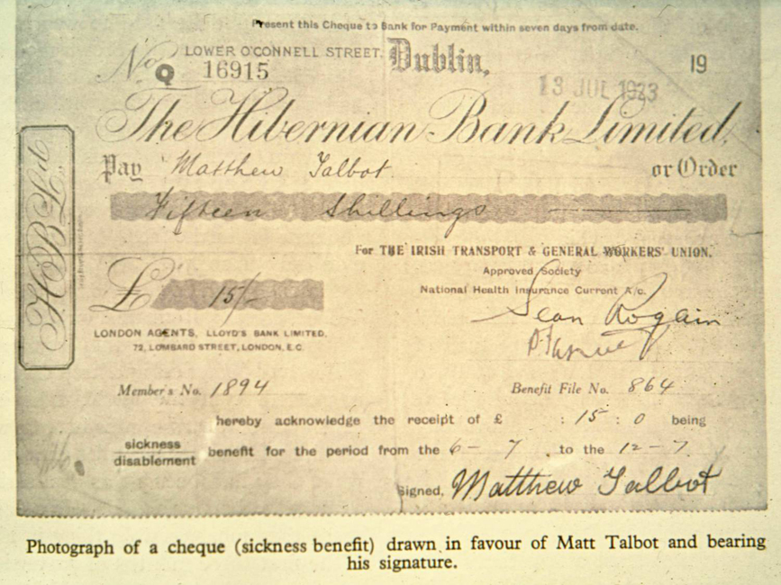 A cheque to Matt of fifteen shillings from the Irish Transport and General Workers Union